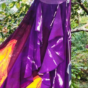 Jennifer Lopez Dresses - Jennifer Lopez maxi dress bold print purple SZ M